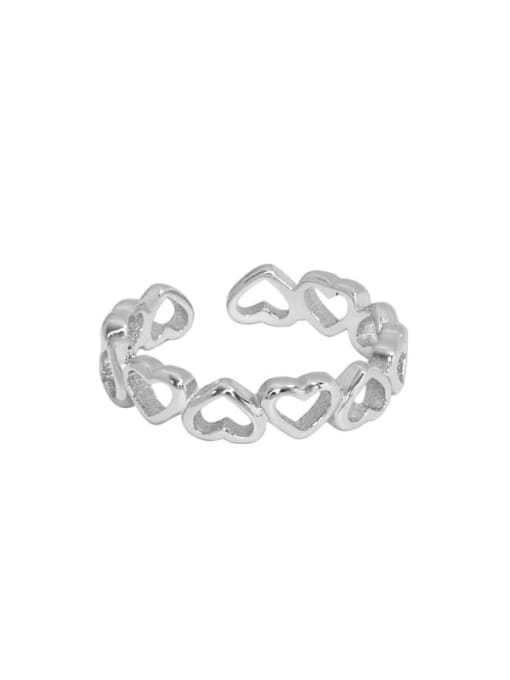 Platinum [11 adjustable] 925 Sterling Silver Hollow Heart Minimalist Band Ring